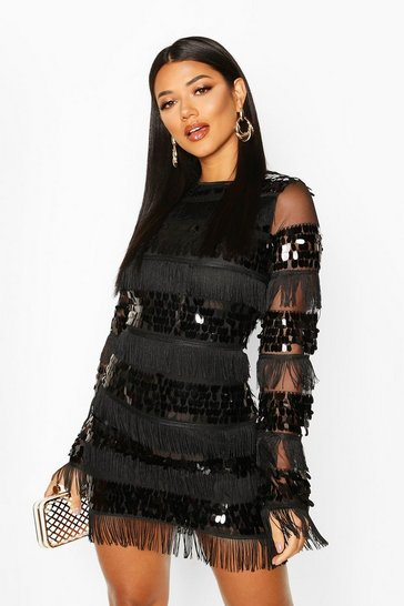 Womens Black Sequin and Tassel Long Sleeve Bodycon Dress