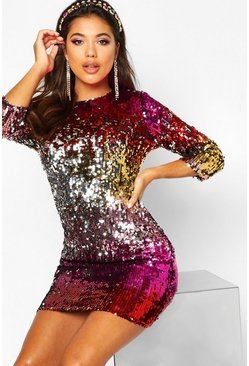 Dam Red Boutique  Multi Sequin Bodycon Dress