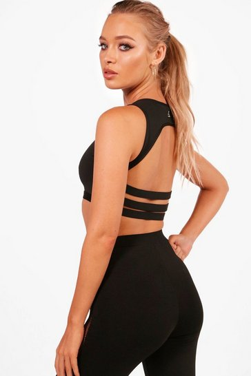 Womens Black Amber Fit Medium Support Strappy Back Sports Crop