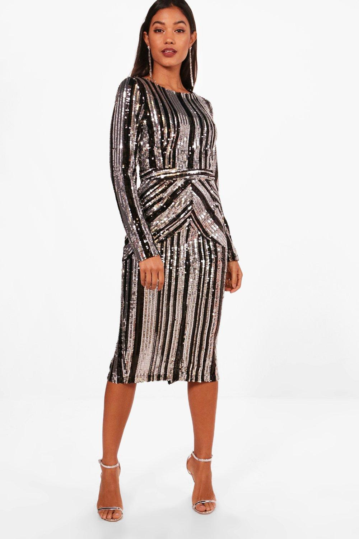 70s Dresses – Disco Dress, Hippie Dress, Wrap Dress Boutique Lara Stripe Sequin Midi Dress  AT vintagedancer.com