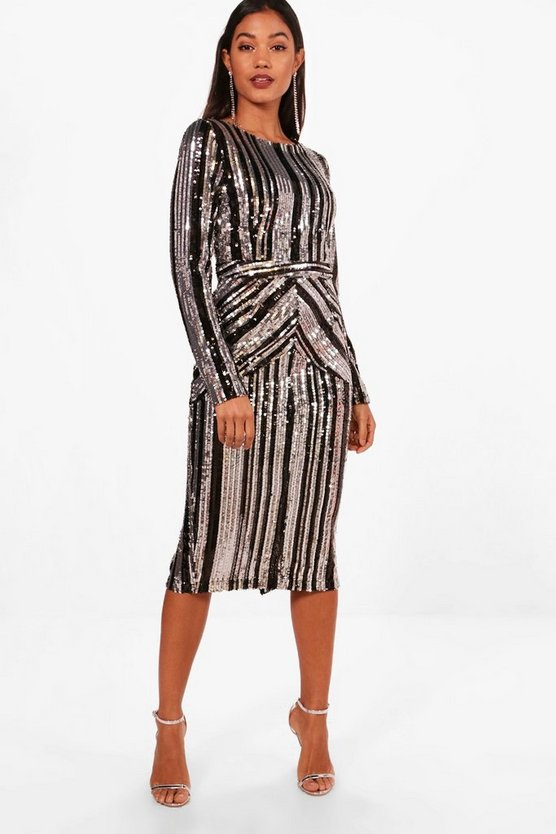 Black Boutique Lara Stripe Sequin Midi Dress
