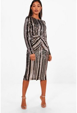Boutique Lara Stripe Sequin Midi Dress, Black, Donna