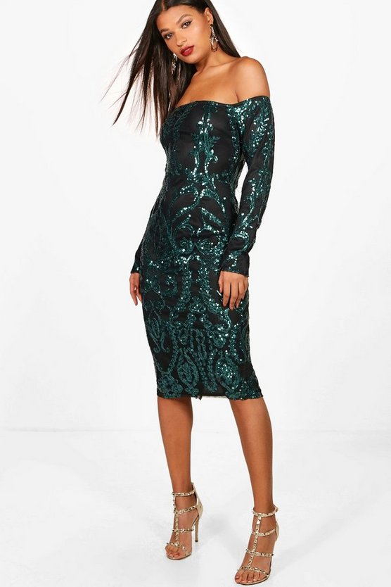 Womens Emerald Boutique Kiki Sequin Off the Shoulder Dress
