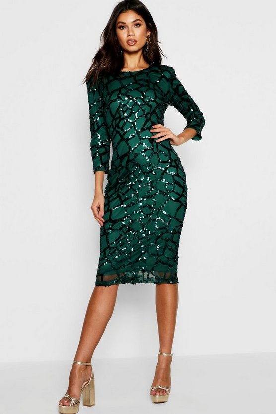 Womens Emerald Boutique Sequin and Mesh Midi Dress