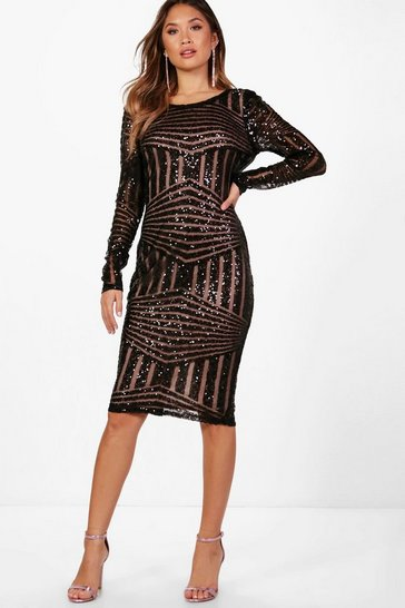Womens Black Boutique Sequin and Mesh Midi Dress