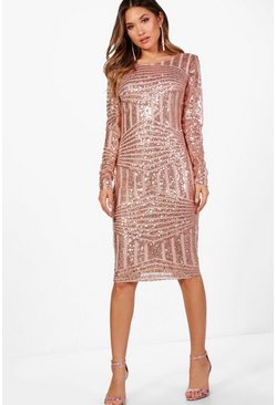 Womens Rose Boutique Sequin and Mesh Midi Dress