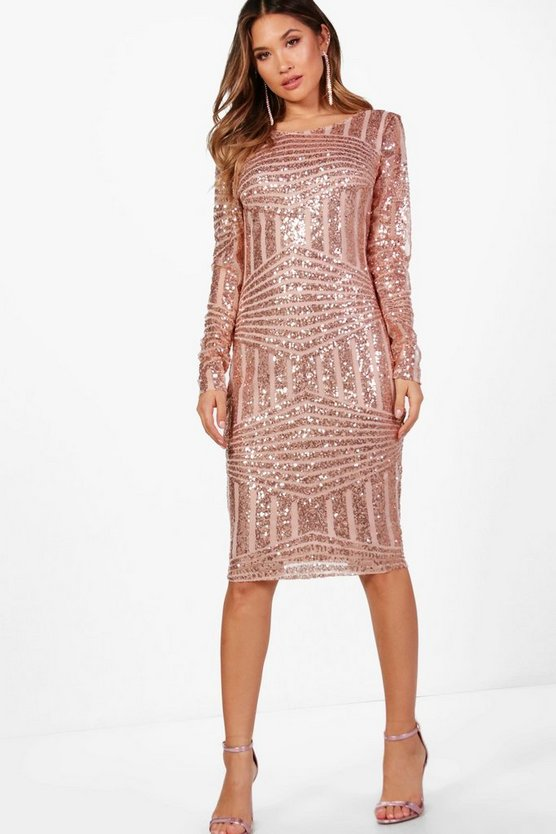 Boutique Sequin and Mesh Midi Dress, Rose, Donna