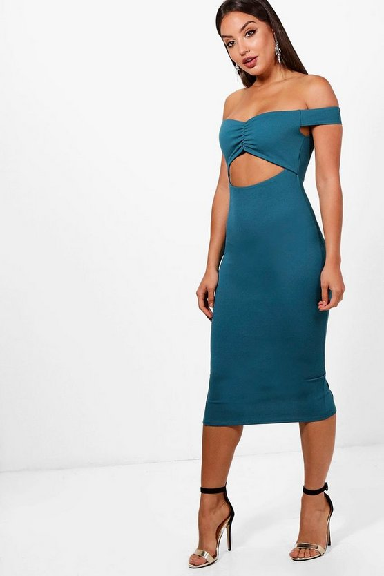 Ruched Off the Shoulder Midi Dress