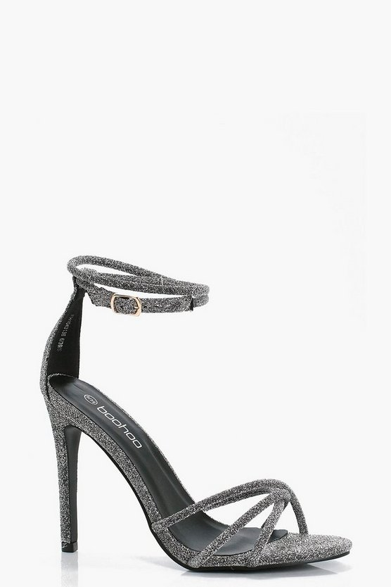 Metallic Ankle Wrap Heels