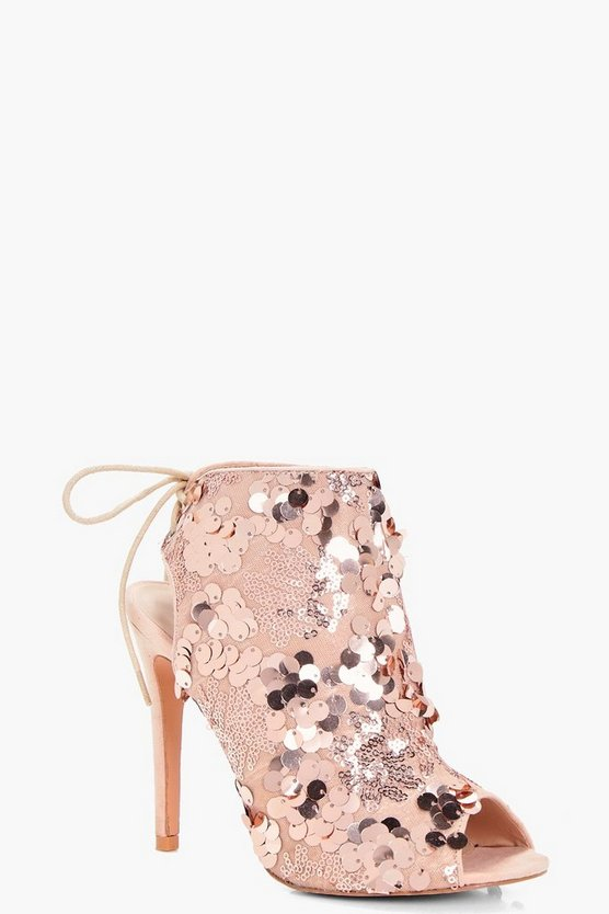 Layla Sequin Detailed Peeptoe Shoe Boot