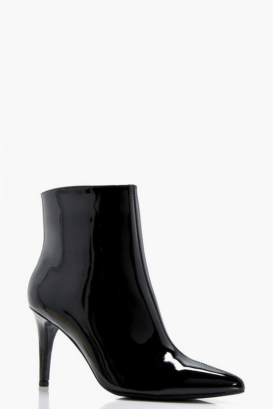 Maisie Patent Pointed Mid Heel Ankle Boot
