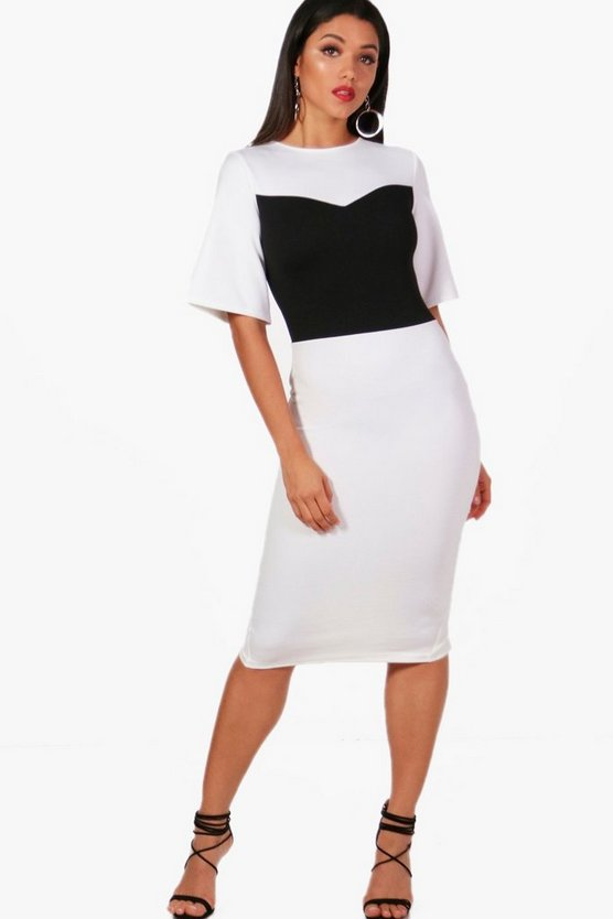 Formal Block Detail Wide Sleeve Midi Dress