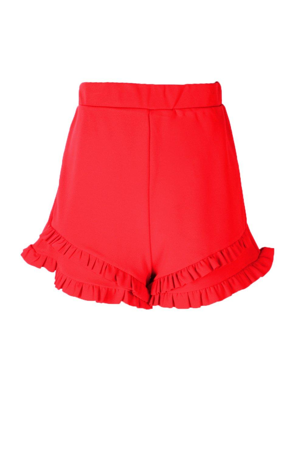 Double Double Frill Frill red Hotpants Hotpants Frill Hem Double Hem red Hem 0qfr0wp