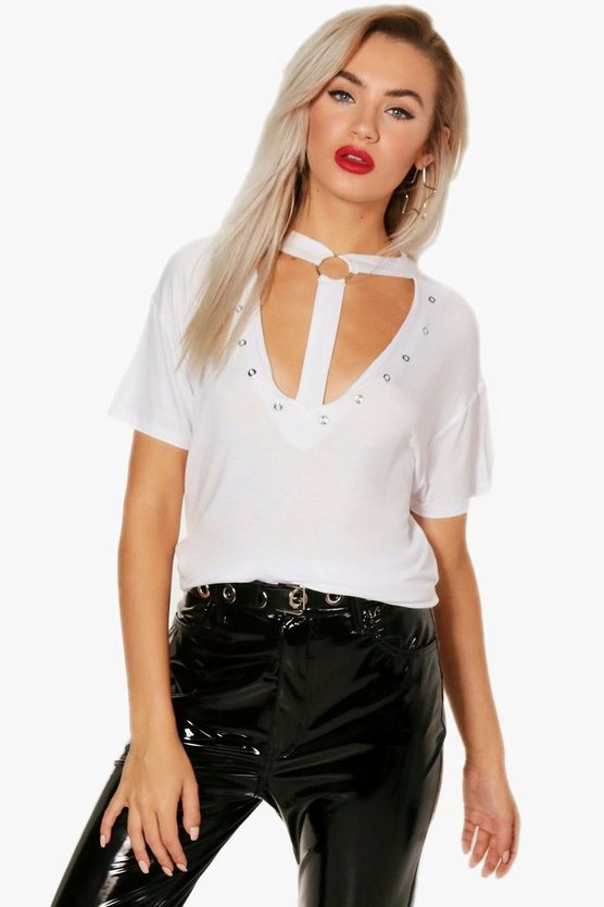 Metal Ring Stud Choker Tee