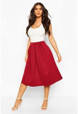 Basic Box Pleat Midi Skirt, Berry
