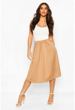 Camel Basic Box Pleat Midi Skirt
