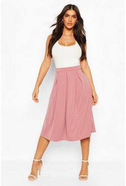 Womens Rose dust Basic Box Pleat Midi Skirt
