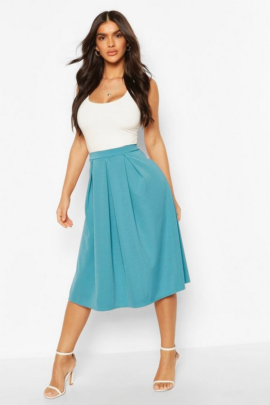 Womens Teal Basic Box Pleat Midi Skirt