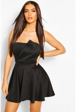 Black Basic Scuba Skater Skirt