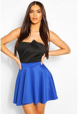 Womens Cobalt Basic Scuba Skater Skirt