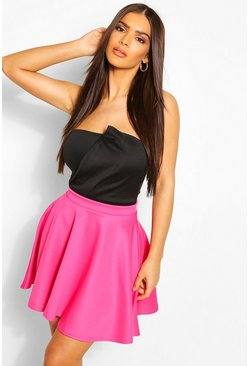 Hot pink Basic Scuba Skater Skirt