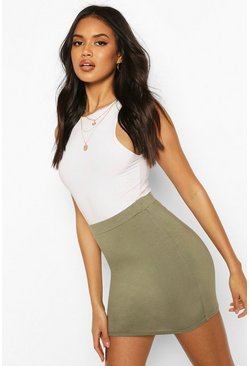 Womens Ash green Basic Jersey Mini Skirt