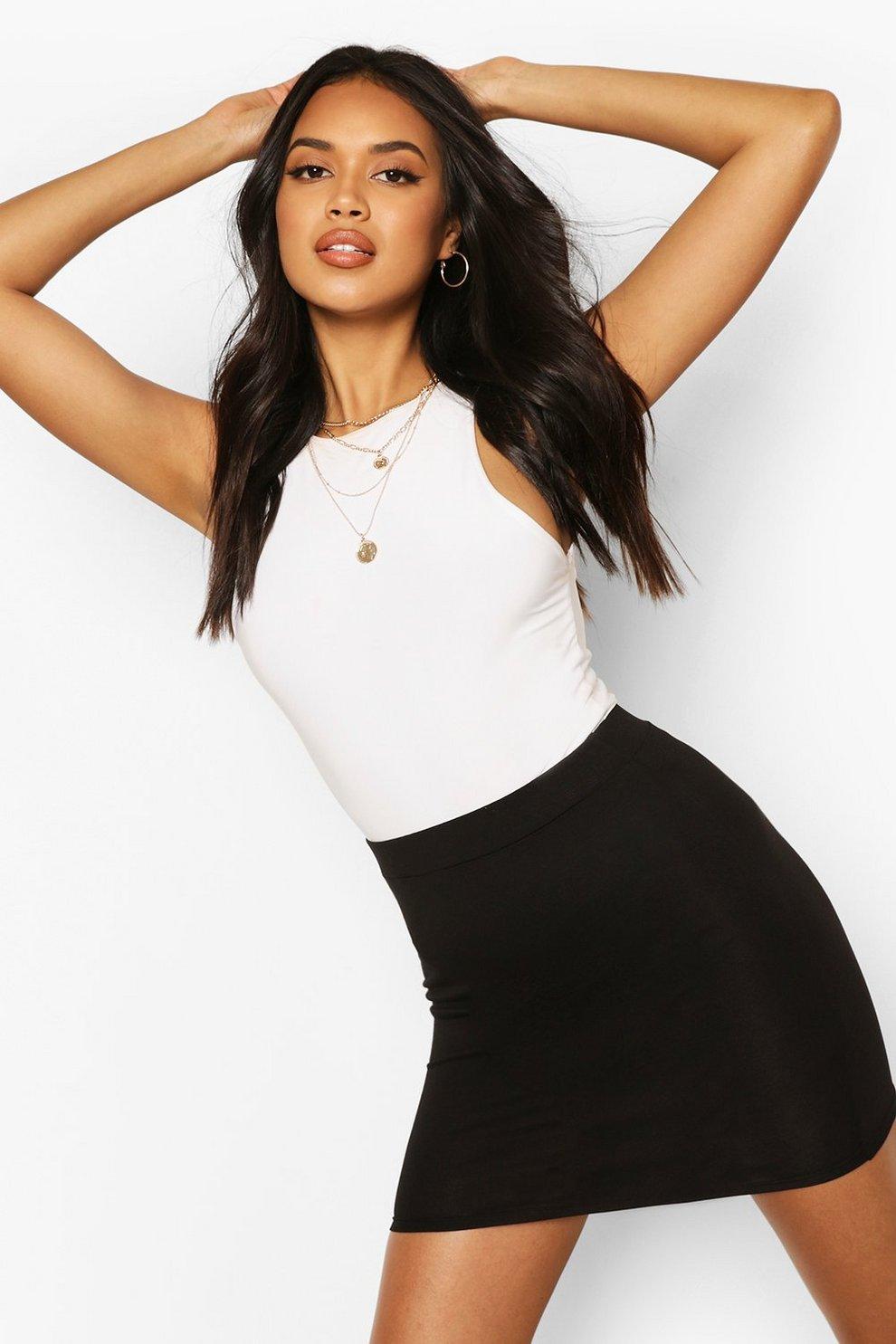 610145d02 Womens Black Basic Jersey Mini Skirt