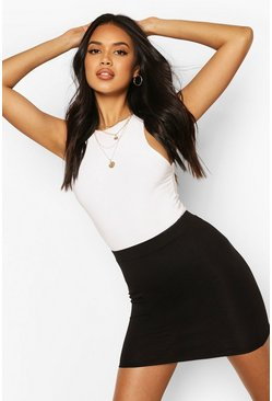 Basic Jersey Mini Skirt, Black, Donna