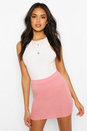 Womens Rose dust Basic Jersey Mini Skirt