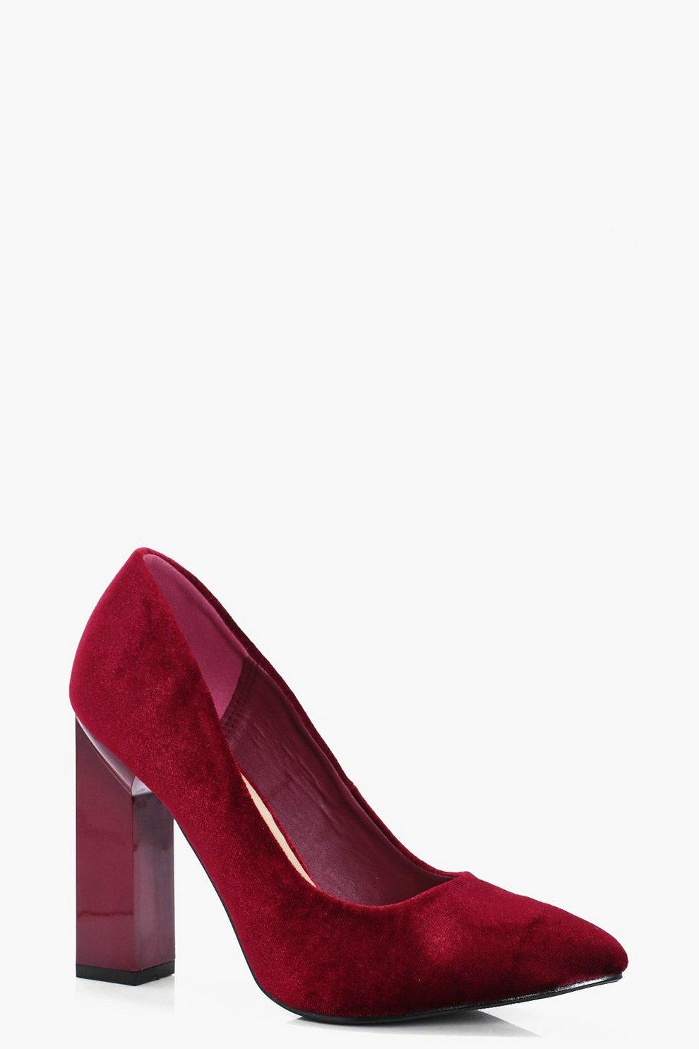 baf35837033 Pointed Toe Block Heel Court Shoes