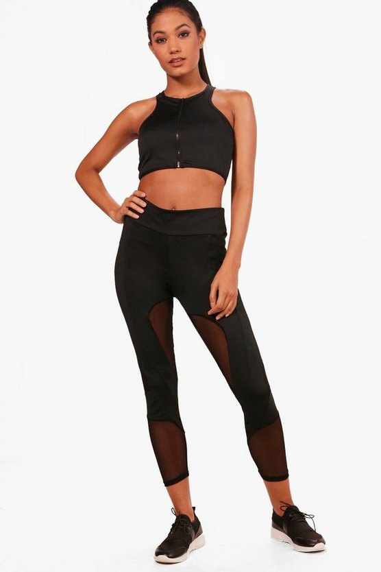 Fit Mesh Panel Running Legging