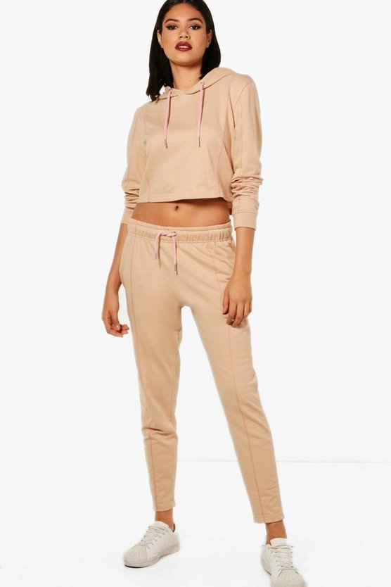 Womens Cream Athleisure Cropped Hooded Tracksuit
