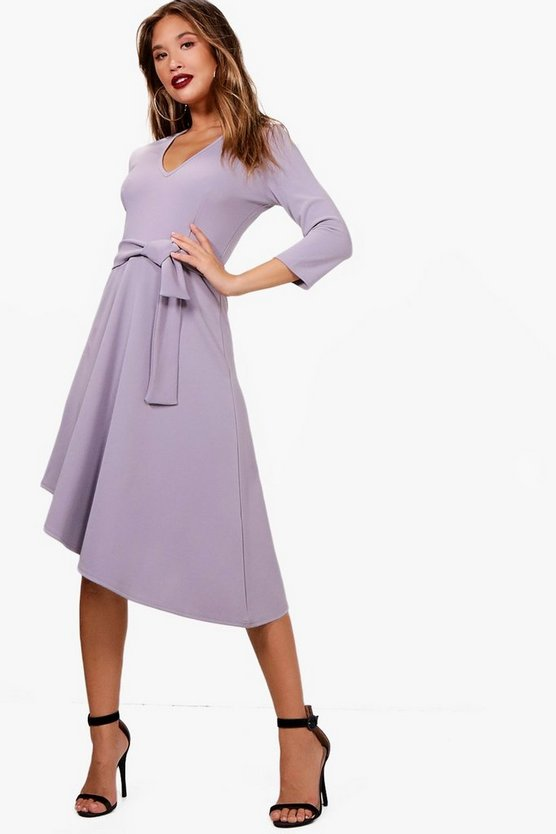 Caty Belted Asymmetric Midi Skater Dress