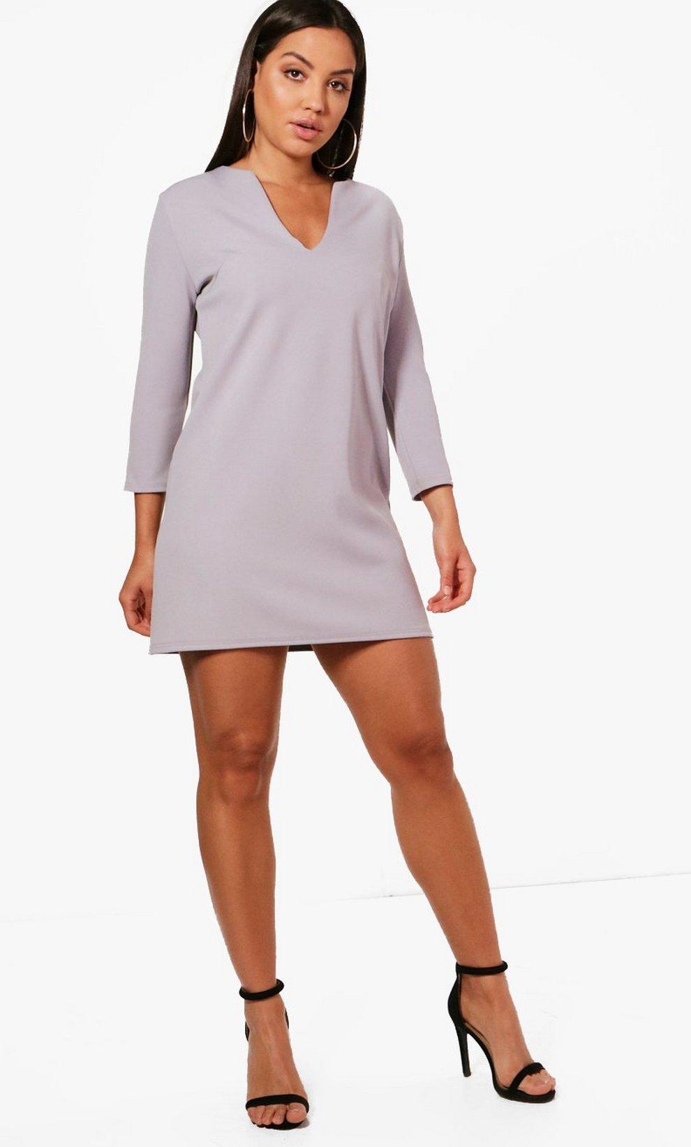 6c676e287764 V Neck Formal 3 4 Sleeve Shift Dress