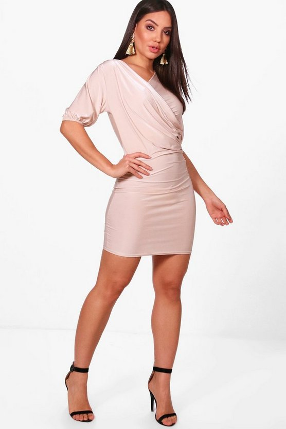 Slinky Draped Bodycon Dress