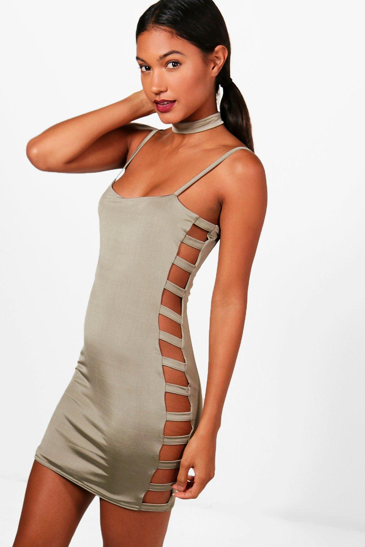 Slinky Ladder Side Choker Bodycon Dress