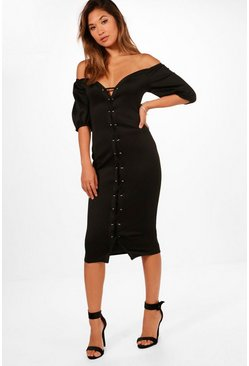 Womens Black Off The Shoulder Eyelet Midi Dress