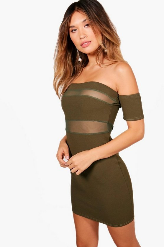 Nala Off the Shoulder Mesh Bodycon Dress