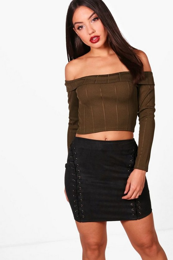 Womens Khaki Bandage Off The Shoulder Top