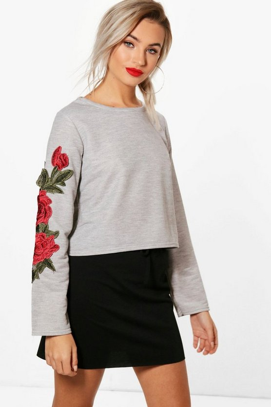 Floral Applique Crop Sweatshirt