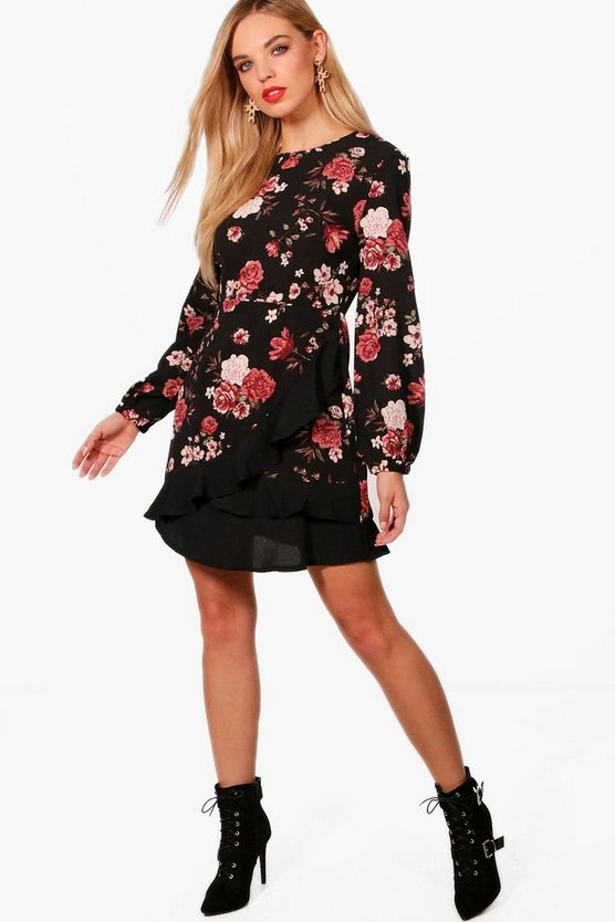Ruffle Detail Floral Tea Dress
