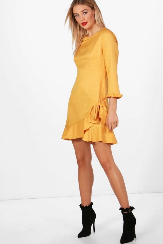 Frill Hem Tie Detail Shift Dress