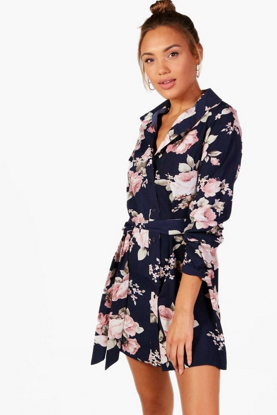 Womens Navy Han Floral Belted Shirt Dress