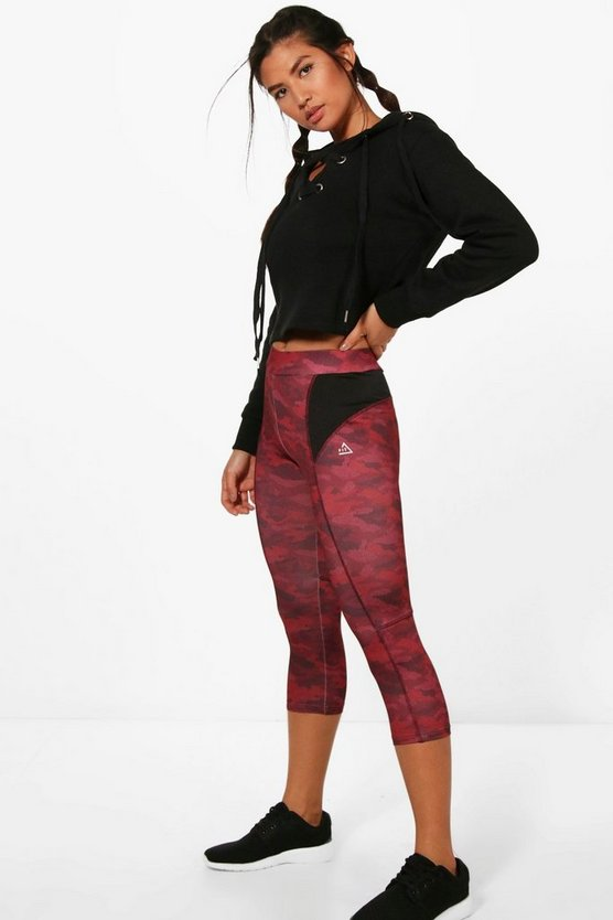 Womens Red Fit Camo Running Breathable Legging