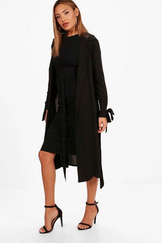 Womens Black Woven Belted Tie Cuff Duster