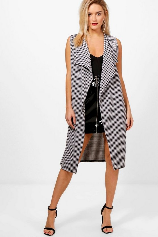 Ella Gingham Check Sleeveless Lace Up Duster