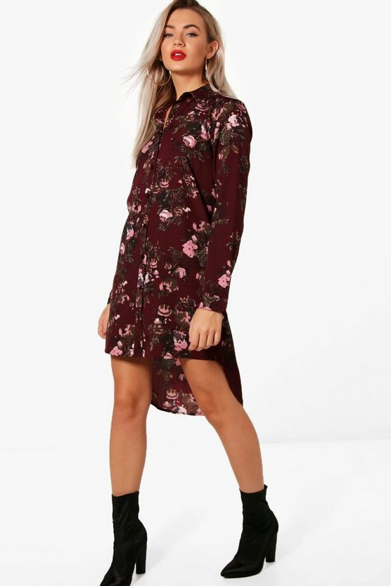 Burgundy Floral Shift Dress
