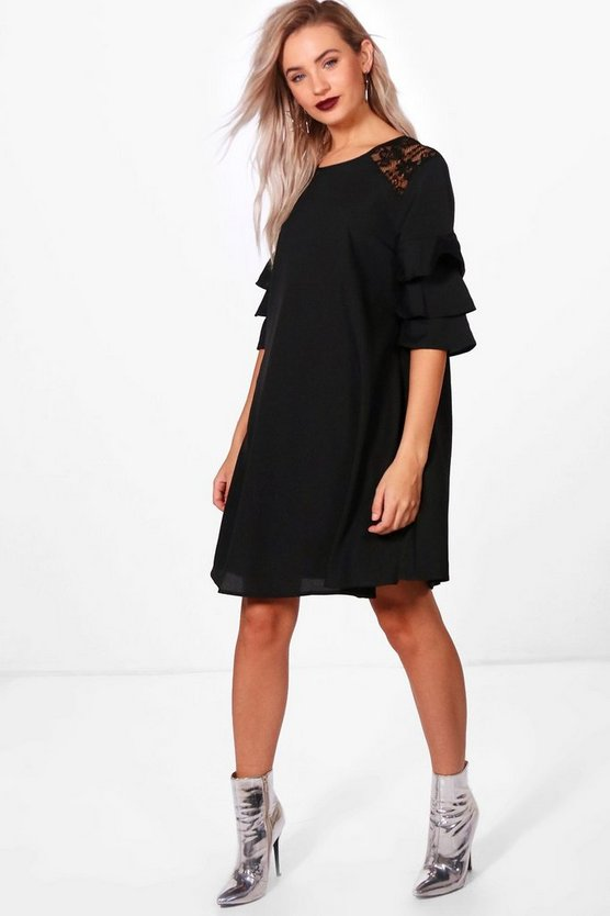 Han Triple Frill Lace Insert Swing Dress