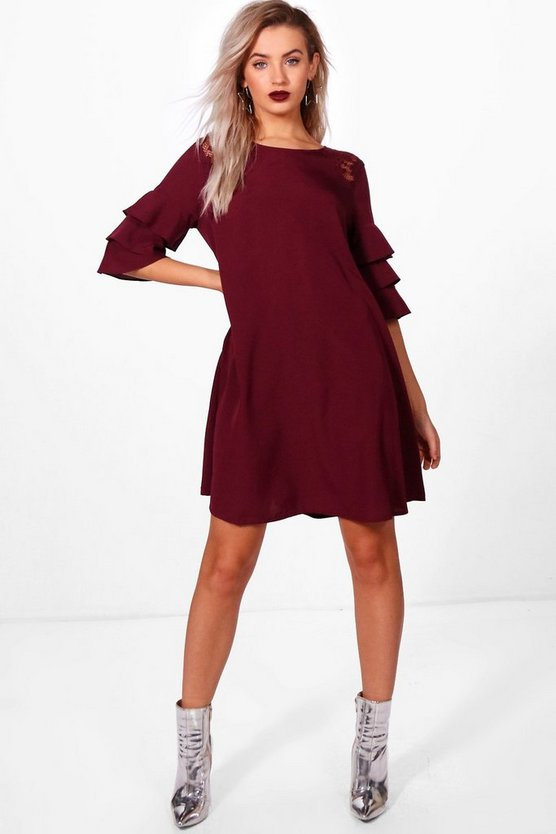 Triple Frill Lace Insert Swing Dress