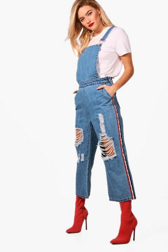 Womens Mid blue Sports Stripe Denim Dungarees
